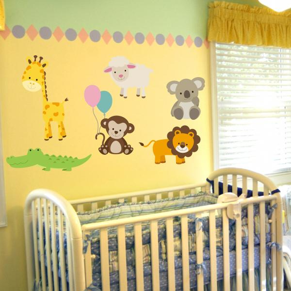 Nursery Zoo Animal Wall Decals | Animal Decal Set | Wall Decal World