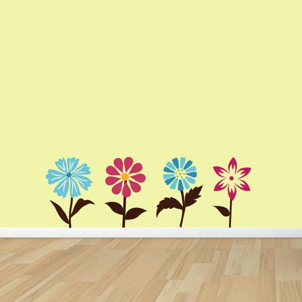 Festive Printed Flowers Wall Decal Set