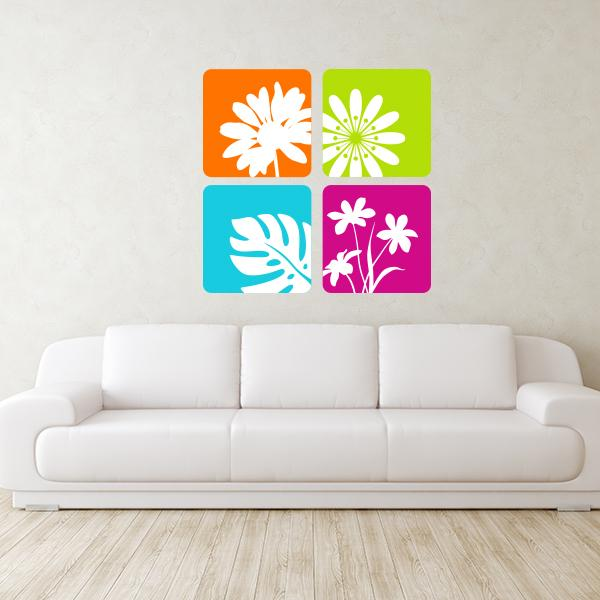 Framed Various Flowers Wall Decals