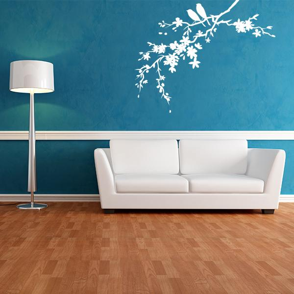 Little Birds On Flowered Branch Wall Decals