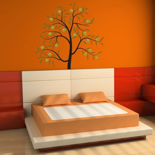 Lively Tree With Leaves Wall Sticker
