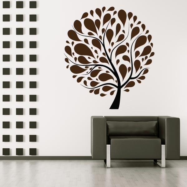 Retro Circle Tree Wall Sticker Mural