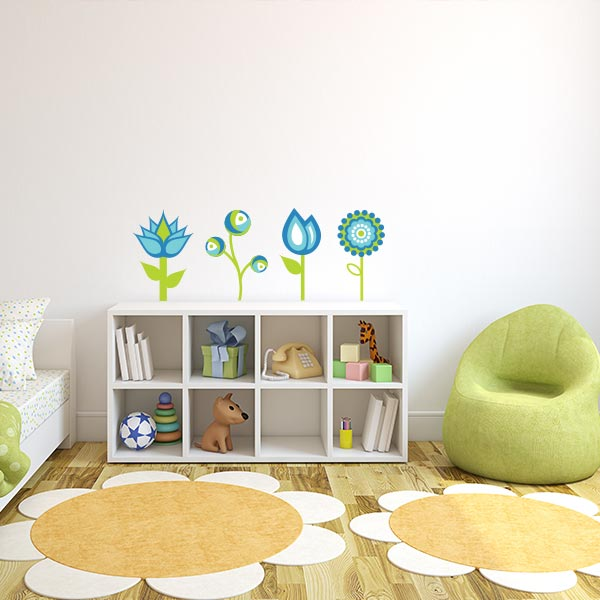 Blue And Green Flower Wall Decal Set