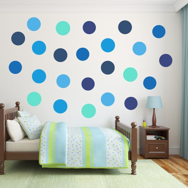 blue polka dot wall decal pack wall decal world. Black Bedroom Furniture Sets. Home Design Ideas