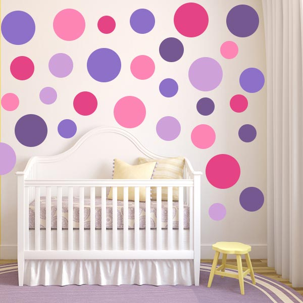Multi-Size Pink And Purple Polka Dot Wall Decal Pack