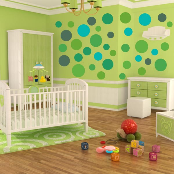 Multi-Size Green Polka Dot Wall Decal Pack