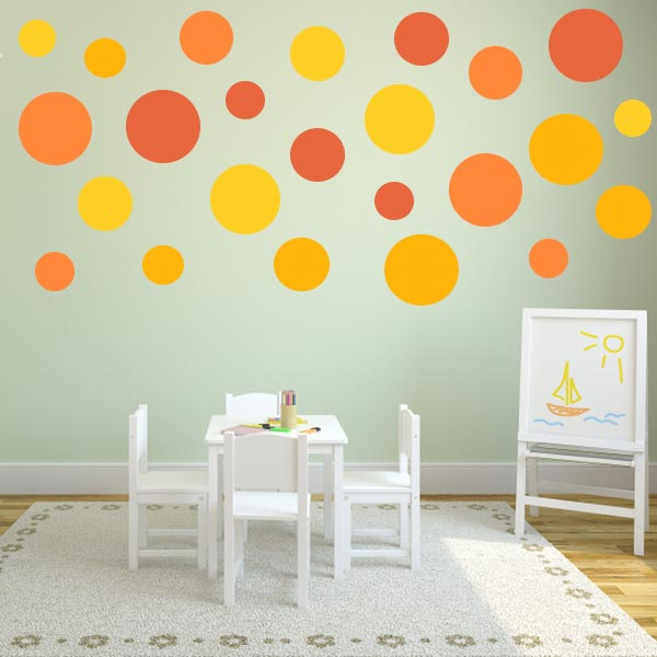 multi size yellow and orange polka dot wall decal pack wall decal world. Black Bedroom Furniture Sets. Home Design Ideas