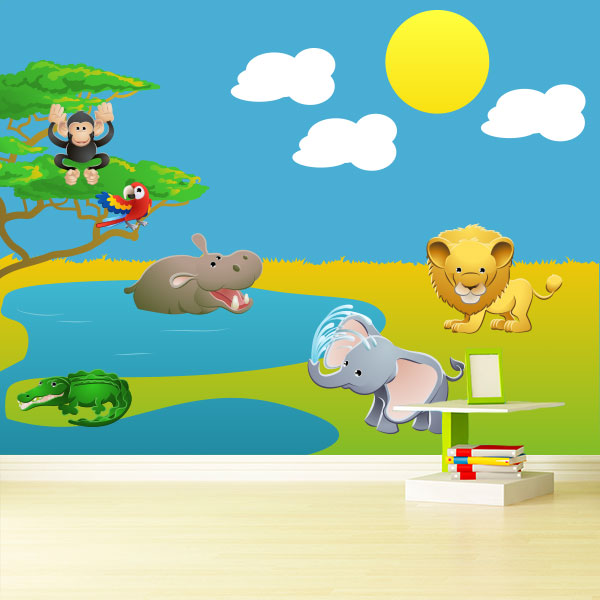 Safari Animal Scene Wall Decal Pack