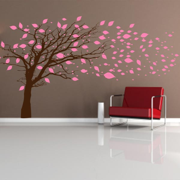Tree With Blowing Leaves Wall Decal Mural