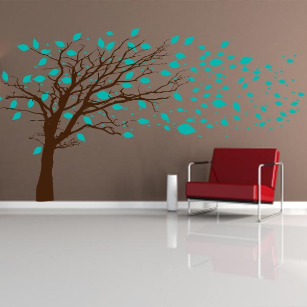 Tree With Turquoise Blowing Leaves Wall Decal