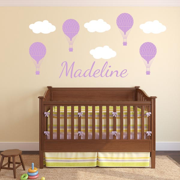 Hot Air Balloons Wall Decal Personalized Set