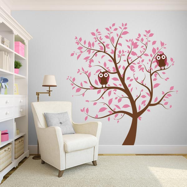 Pink Nursery Tree With Owls Wall Decal