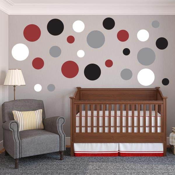 create your own multi size polka dot wall decal variety pack wall decal world. Black Bedroom Furniture Sets. Home Design Ideas