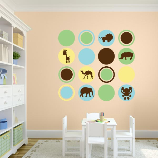 Nursery Animal Polka Dot Wall Decal Set