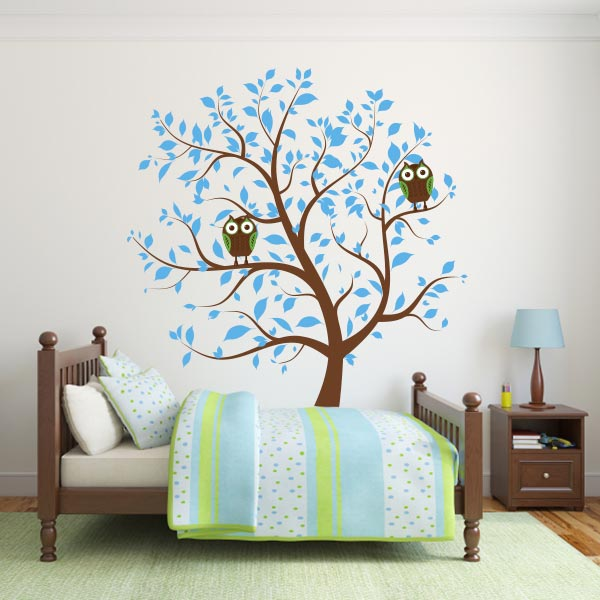 Blue Nursery Tree With Owls Wall Decal