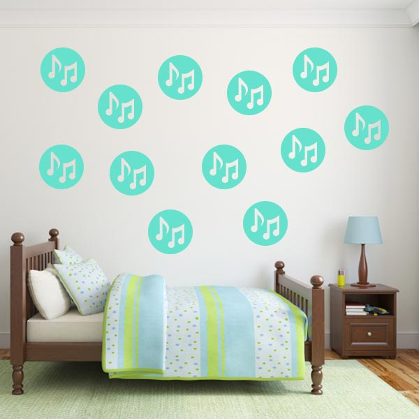 Polka Dot Music Note Wall Decals – Set Of 12