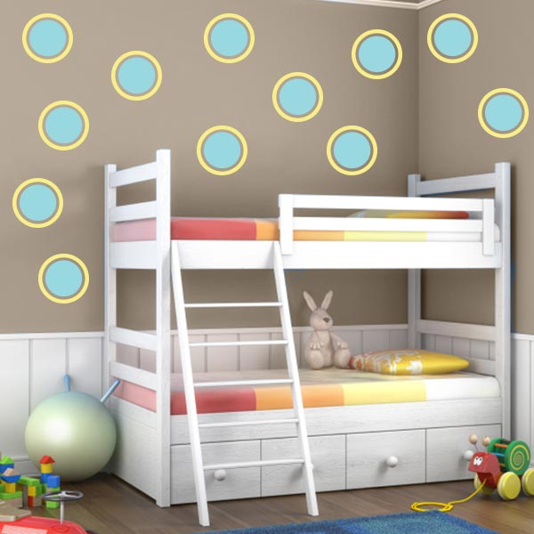 Circle Wall Decal Pack - Mint And Yellow