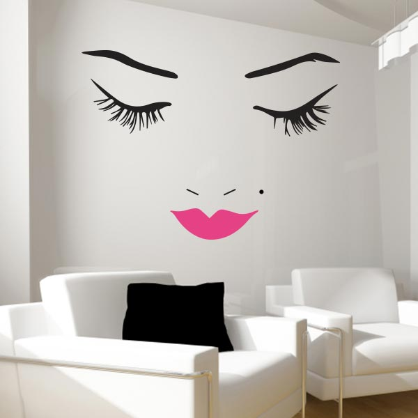 Beautiful Face With Pink LipsBeautiful Face Pink Lips Wall Decal Set