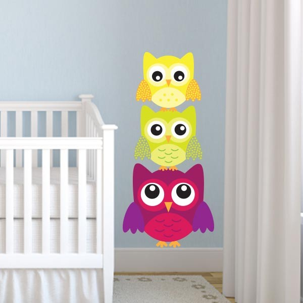 3 Stacked Owl Wall Decals