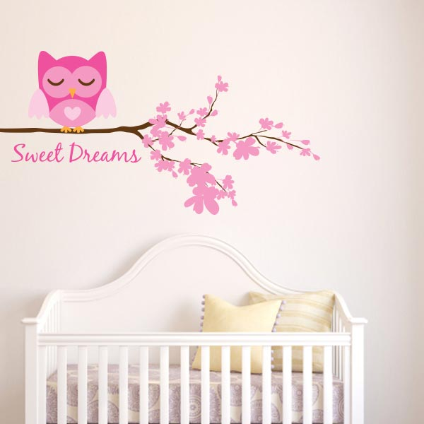 Charmant Girl Sweet Dreams Owl Wall Decal