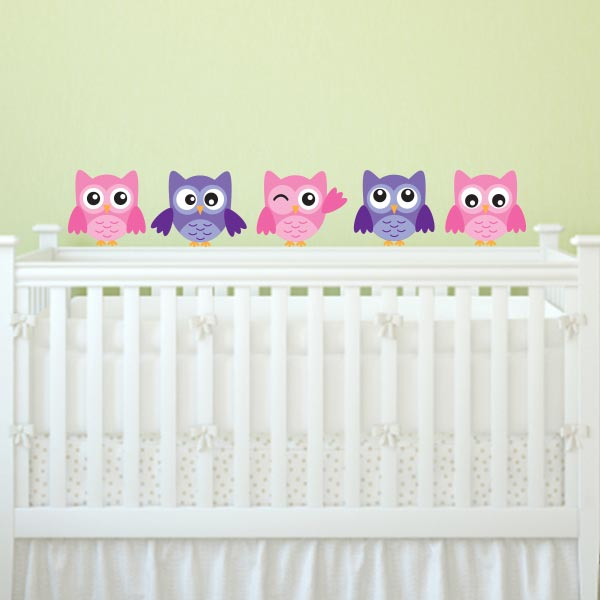 Pink And Purple Owl Wall Decal – Set Of 5