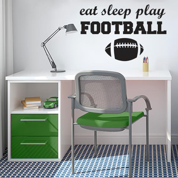 Eat Sleep Play Football Wall Decal