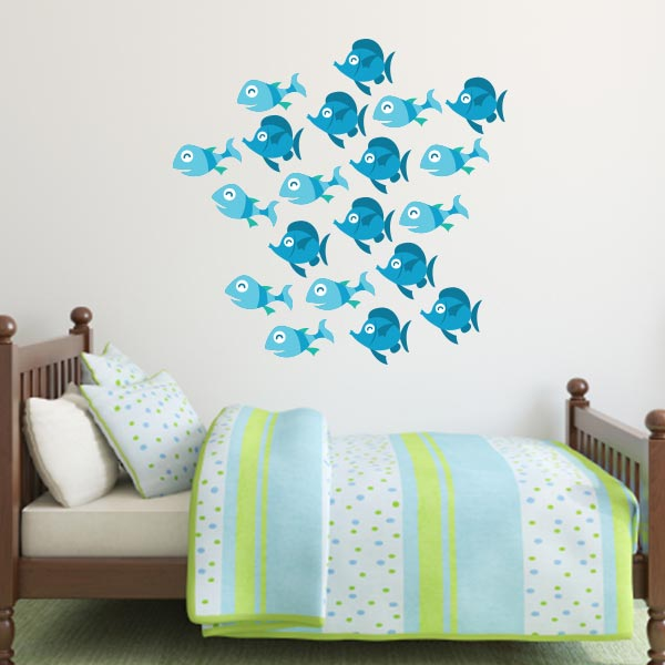Blue Fish Wall Decals – Set Of 20
