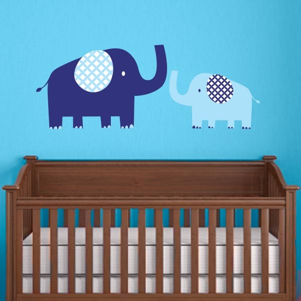 Blue Mom and Baby Elephant Wall Decal
