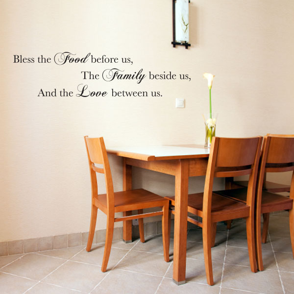 Bless This Food Quote Wall Decal