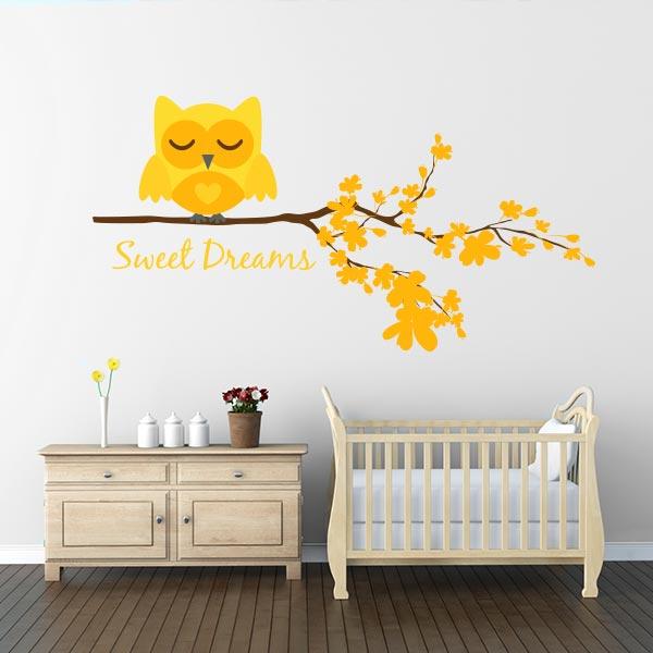 Yellow Sweet Dreams Owl Wall Decal