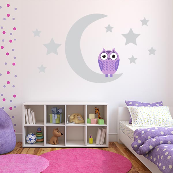 Purple Owl on Moon Wall Decal