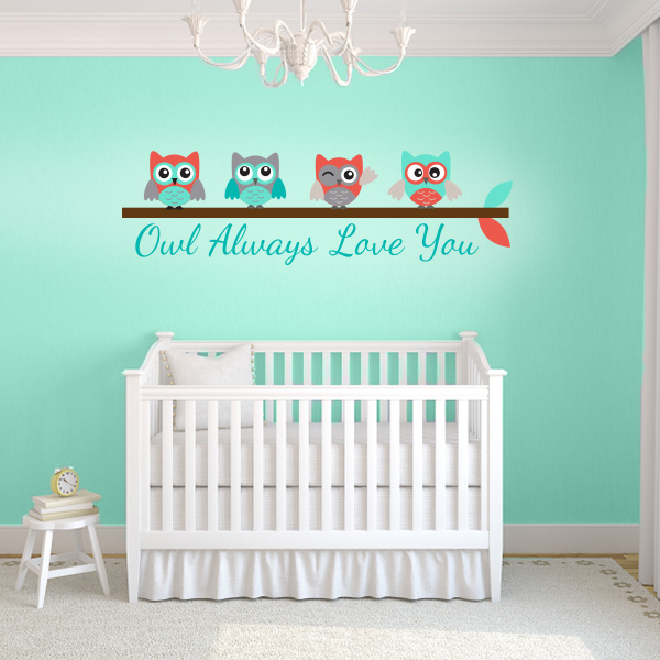 Turquoise And Coral Owl Always Love You Wall Decal