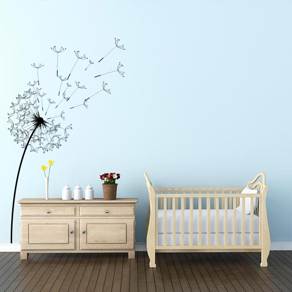Awesome Blowing Dandelion Flower Wall Decal