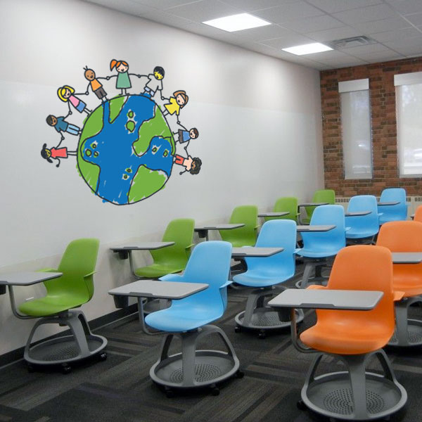 Children Around Globe Wall Decal